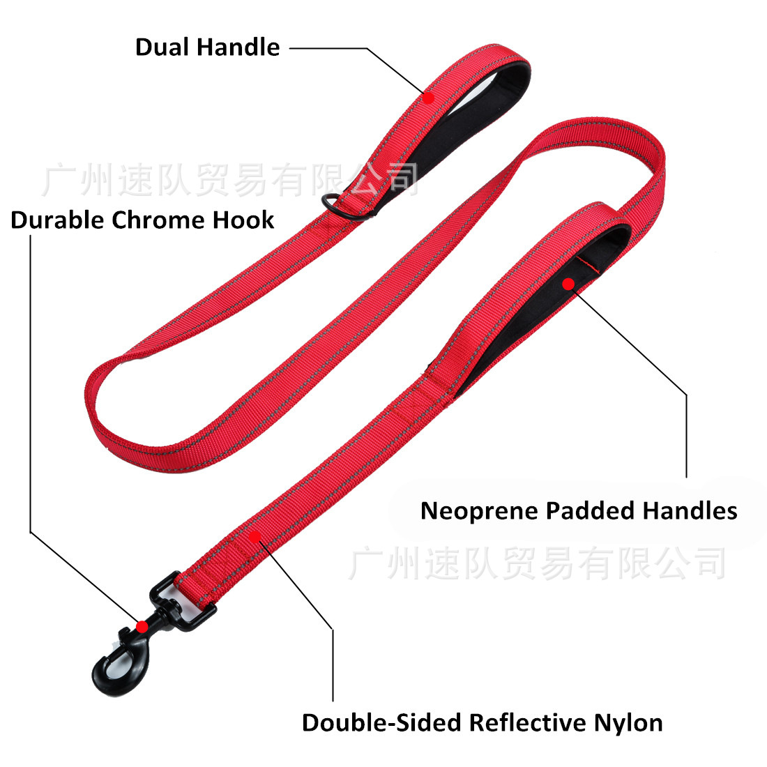 Pet Traction Rope Double Layer Reflective Double Handle Dog Running Hand Holding Rope Pet Supplies