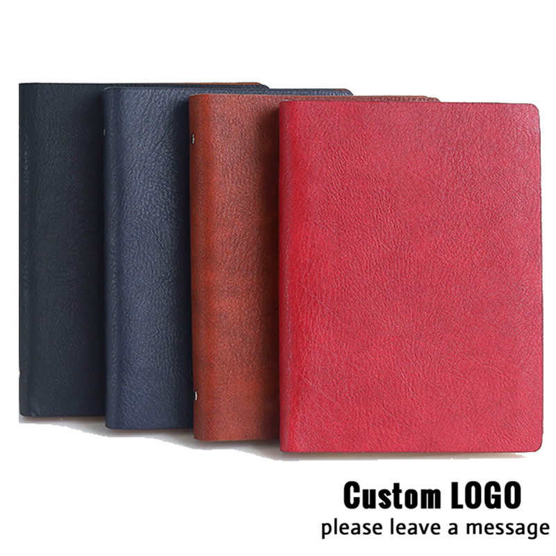1pc A5 Laser Custom Logo Students Stationery Office Supplies Notebooks Simulation Leather Business Notepads Loose-leaf Notebooks