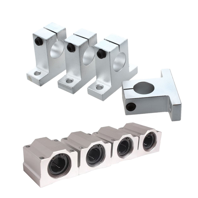 8 Pcs 20Mm Aluminium Bearing: 4 Pcs Shaft Support Pillow Block & 4 Pcs SC20UU Linear Motion Ball Bearing Slide Bushing For CNC