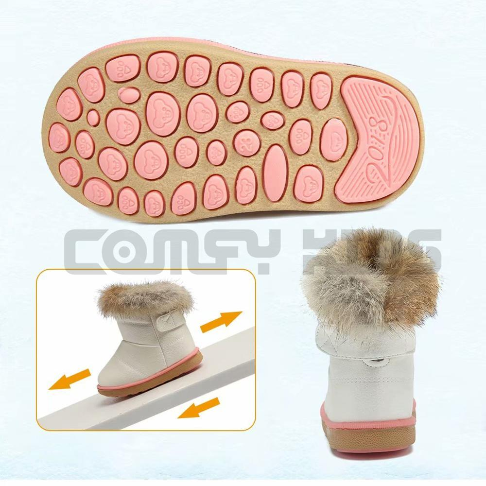 Winter Warm Plush Baby Girls Snow Boots Shoes Pu Leather Flat With Baby  Toddler Shoes Outdoor Snow Boots Girls Baby Kids shoes - Rembo
