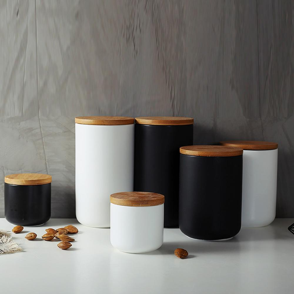 Amazing Style Tea Coffee Sugar Jars Ceramic Canisters with bamboo Lids /& Holder