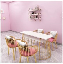Golden Fashion Double Manicure Table and Chair Set Nordic Double Manicure Desk and Chair Japanese Manicure