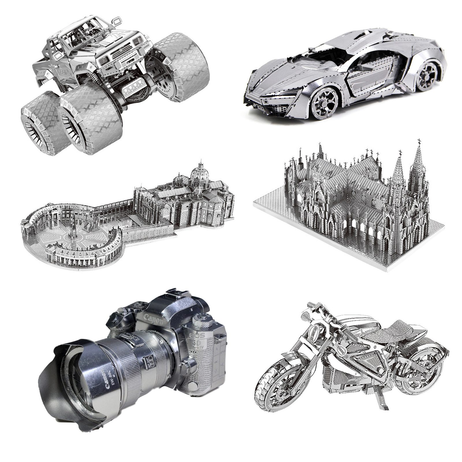 Church Motorcycle Truck 3D Metal Puzzle Model Kits DIY Laser Cut Assemble Jigsaw Toy Desktop Decoration GIFT For Audit Children