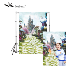 Beebuzz photo backdrop castle park backgroung princess mushroom footpath pink tree photophone