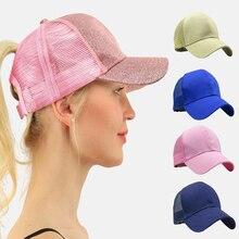 Summer Ladies Hat Ponytail Baseball Cap Cotton Back Opening Solid Glitter Horsetail For Women Mesh Caps Adjustable Bun