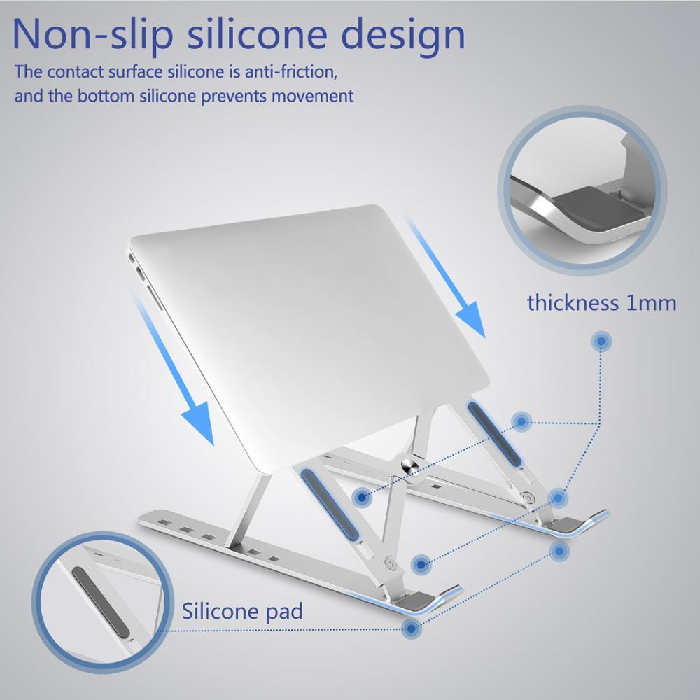 Draagbare Laptop Stand Aluminium Opvouwbare Notebook Ondersteuning Laptop Base Macbook Pro Holder Verstelbare Beugel Computer Accessoires 5