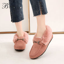 BANGJIAO Winter Women Loafers Shoes 2019 Fashion Faux Suede Leather Slip on Moccasin Keep Warm Soft Solid Boat Shoe Fur Flats