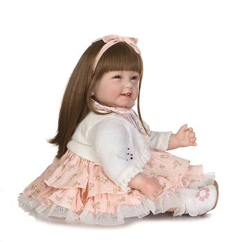 silicone reborn baby soft body 55cm Handmade Design Cloth Body Silicone Lifelike Alive Babies Doll Toys For Kids Christmas Girls