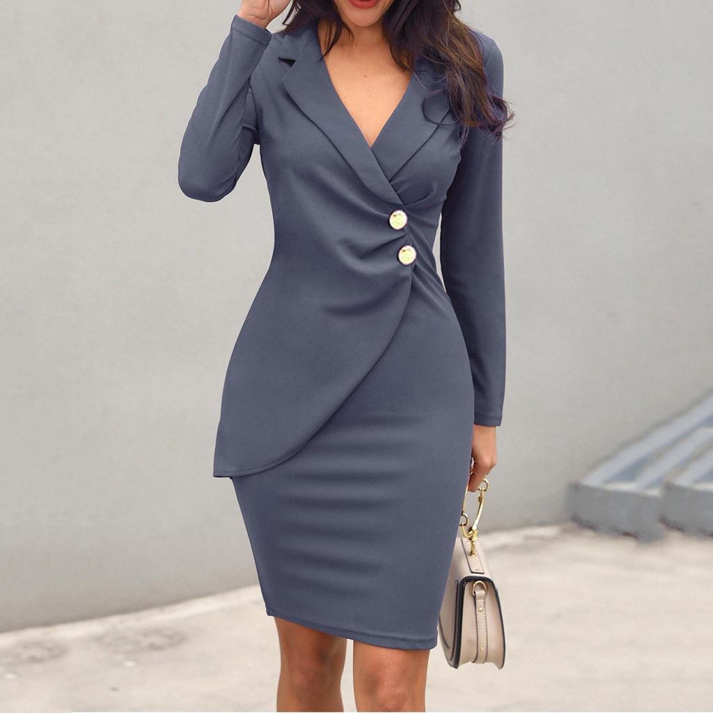 Осеннее платье для женщин, офисное, сексуальное, одноцветное, с отложным воротником, с длинным рукавом, на пуговицах, облегающее, для работы, ...