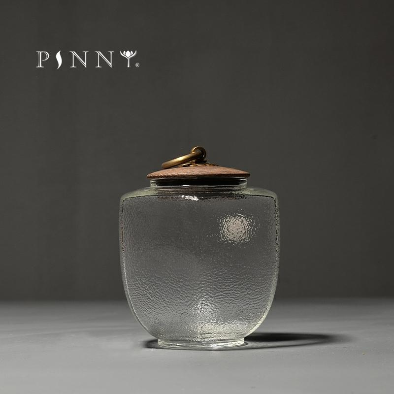 PINNY Japanese Style Sealed Tea Jar Texture Glass Tea Storage Tea Ceremony Accessories Hand Made Storage Containers
