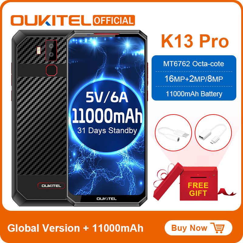 "OUKITEL K13 Pro Android 9,0 Handy 6.41 ""19.5:9 bildschirm MT6762 4G RAM 64G ROM 5V/6A 11000mAh OTA NFC Fingerprint Smartphone"