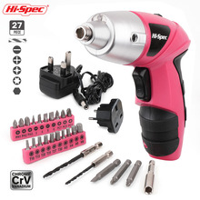 Hi-Spec Pink 4.8V Cordless Electric Screwdriver Cordless Screwdriver Household Drill Driver Power Gun Tool with LED Light