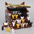 Куриный дом, строительные блоки, цыплята, курятник, курятник, рост, город МОС, аксессуары, модели животных, блоки, детали, игрушки для детей D177