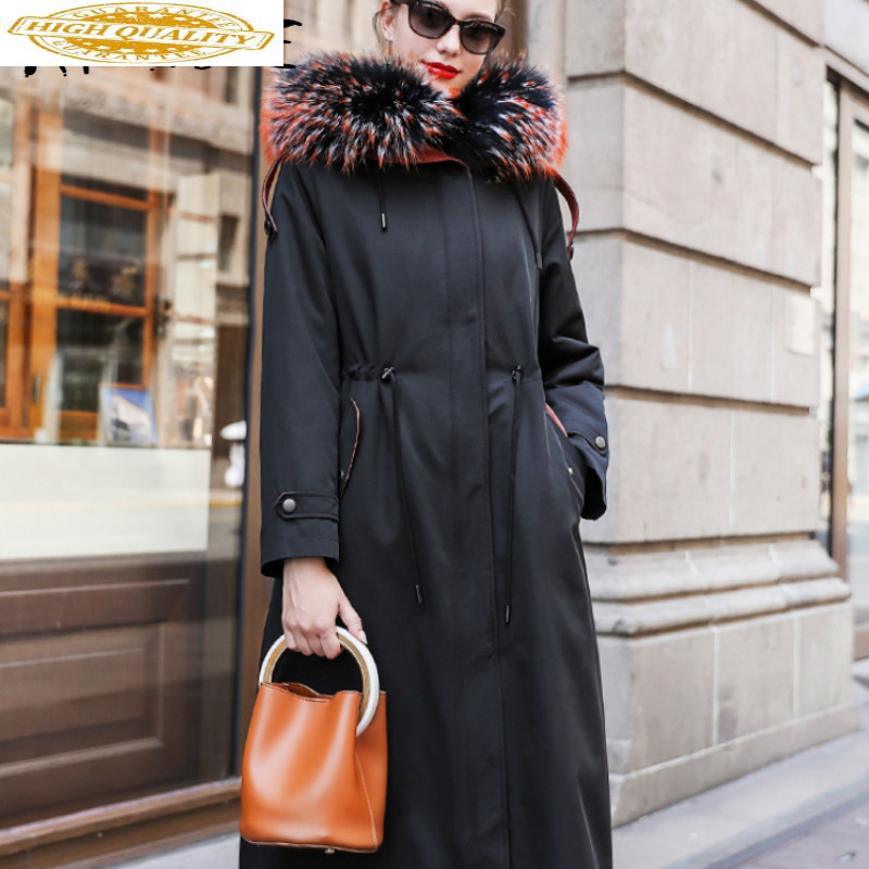 Real Fur Coat Women Rex Rabbit Fur Coat Women Korean Raccoon Fur Collar Winter Coat Women 2019 Warm Parka TJS-288 YY1642