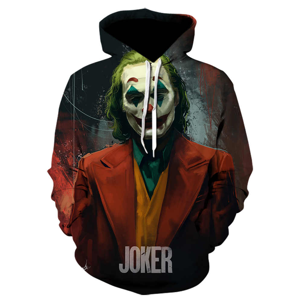 Joker IT Heath Ledger เครื่องแต่งกาย Dc Dark Knight clown 3d Hoodies Joker ชุดผู้ชาย/ผู้หญิงเสื้อกันหนาว Joker Batman เสื้อผ้าตลก