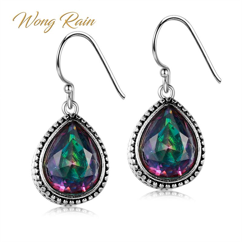 Wong Rain Vintage 100% 925 Sterling Silver Pear Mystic Rainbow Topaz Gemstone Drop Dangle Hook Earrings Fine Jewelry Wholesale