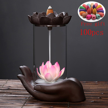 Buddha Hand Backflow Incense Burner Waterfall Incense Burner Holder Lotus Zen Incense Burner Creative Ceramic Home Unique Crafts