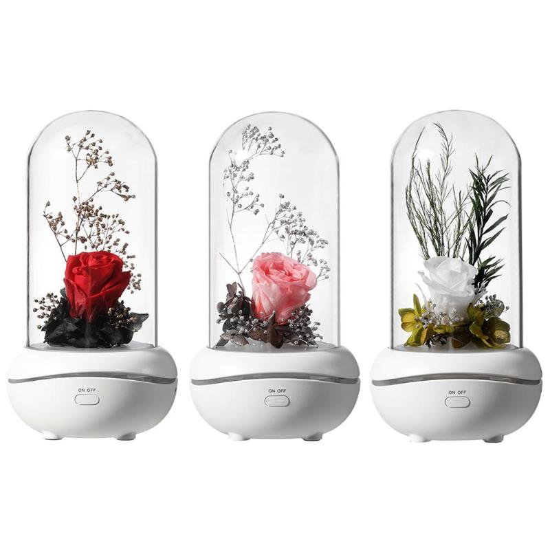 USB Rechargeable Air Humidifier Aroma Essential Oil Air Diffuser Immortal Rose Aromatherapy Diffuser With 7 Color LED Light