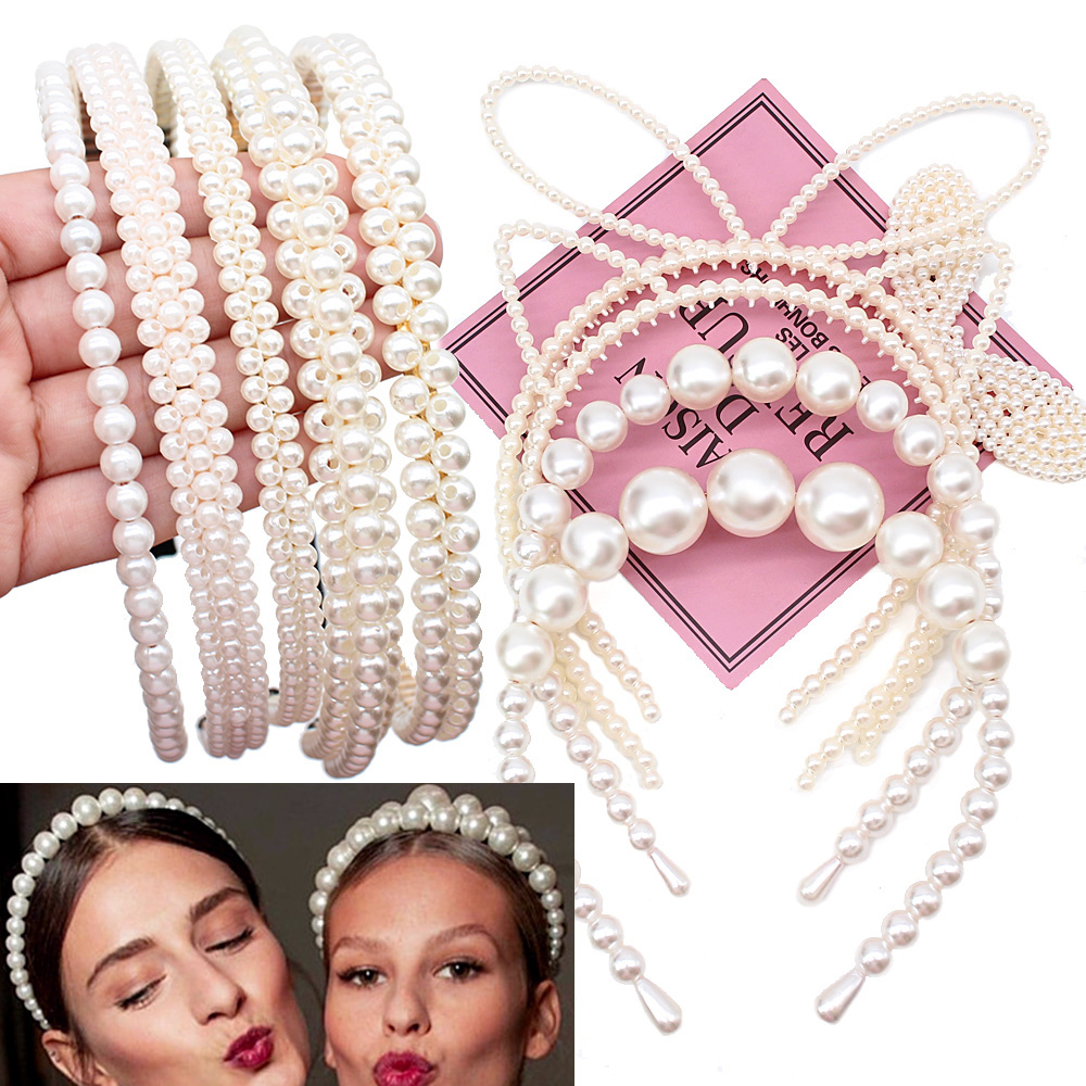 2019 NEW Big Imitiation Pearls Hairband Elegant Headband Women   Headwear   Cute Bear Ear Hair Hoop Bezel for Girls Hair Accessories