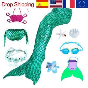 Image 1 - 9 pz/set Ragazze Balneabile Mermaid Tails Cosplay Costumi Delle Ragazze Dei Bambini di Nuoto del Bikini Costume Da Bagno Costume Da Bagno con I Capelli Pinze Monofin