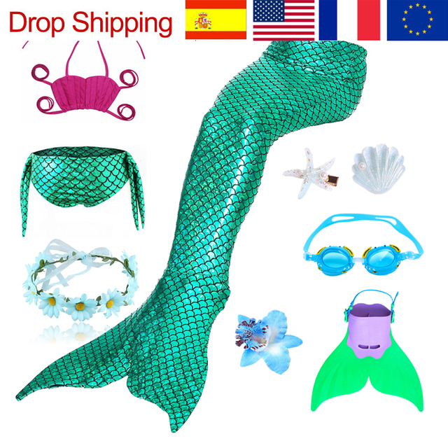 9 pz/set Ragazze Balneabile Mermaid Tails Cosplay Costumi Delle Ragazze Dei Bambini di Nuoto del Bikini Costume Da Bagno Costume Da Bagno con I Capelli Pinze Monofin