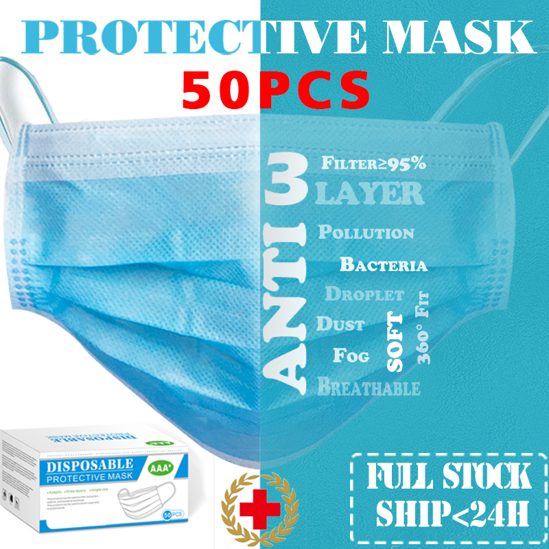 50 Pcs Face Mask Mascarillas 3 Layer Filter Safety Protective Mouth Masks Anti-Dust Earloops Disposable Face Masks Fast Ship 24h