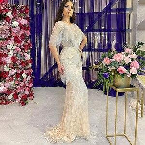 Image 2 - Женское вечернее платье с юбкой годе, серебристое платье с кисточками и бисером, роскошное привлекательное официальное платье с рукавом до локтя, модель DLA70342, 2020