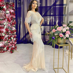 Image 2 - Silver Tassel Beading Mermaid Sexy Evening Dresses 2020 Half Sleeves Luxury Sexy Formal Dress Real Photo Serene Hill DLA70342