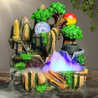 220V Lucky Feng Shui Fountains Resin Rockery Micro Landscape Indoor Water Fountain Air Humidifier Waterfall Home Decoration Gift