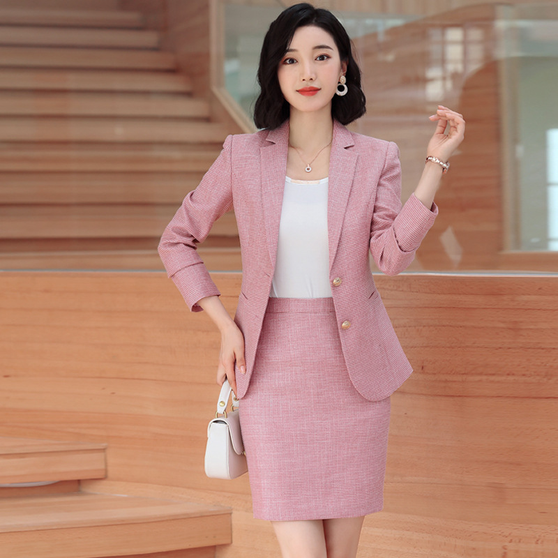 Gray Pink plaid Female elegant Women's Skirt Suits dress jacket costumes office work wear clothing 2 piece set jacket and blouse