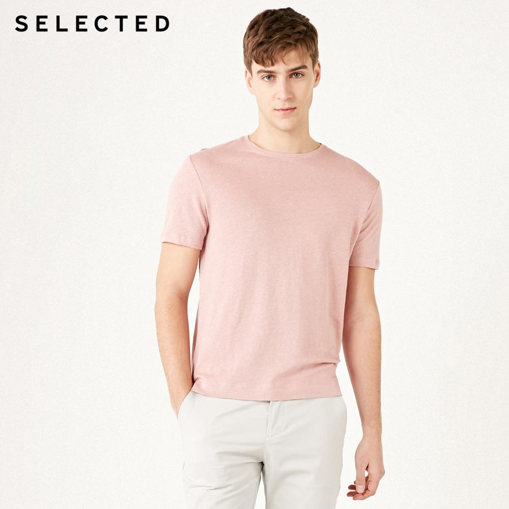 SELECTED Men's Cotton & Linen Blend Solid Color Short-sleeved Summer Casual T-shirt S | 419201598