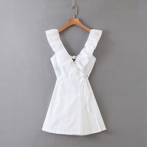 Casual Ruffles Cotton Sleeveless Dress Women Lace Up A-line V neck Backless Hollow Out Embroidered Tank Dress XB633