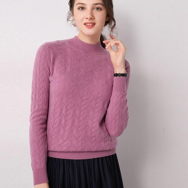 новинка полый шерстяной свитер с высоким воротником женский фотография