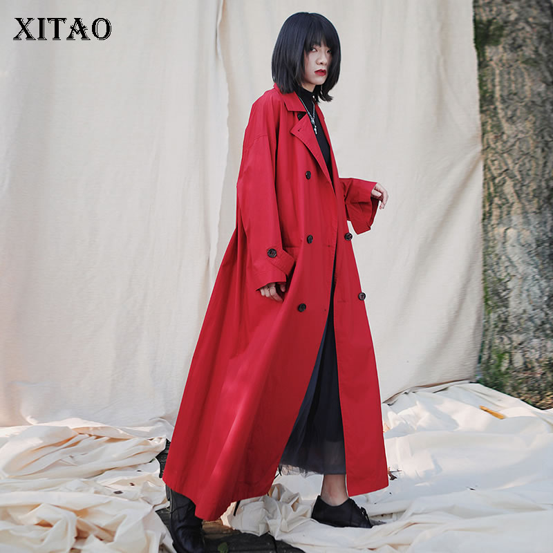 XITAO Wide Waist Trench Fashion New Double Breast Full Sleeve Plus Size Long Minority Small Fresh Casual Loose Coat Top DMY2910