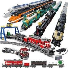 Stadt Fernbedienung Zug Harmonie High-speed Rail Elektrische Auto Bausteine RC Zug Track Ziegel Spielzeug Für Kinder geschenke