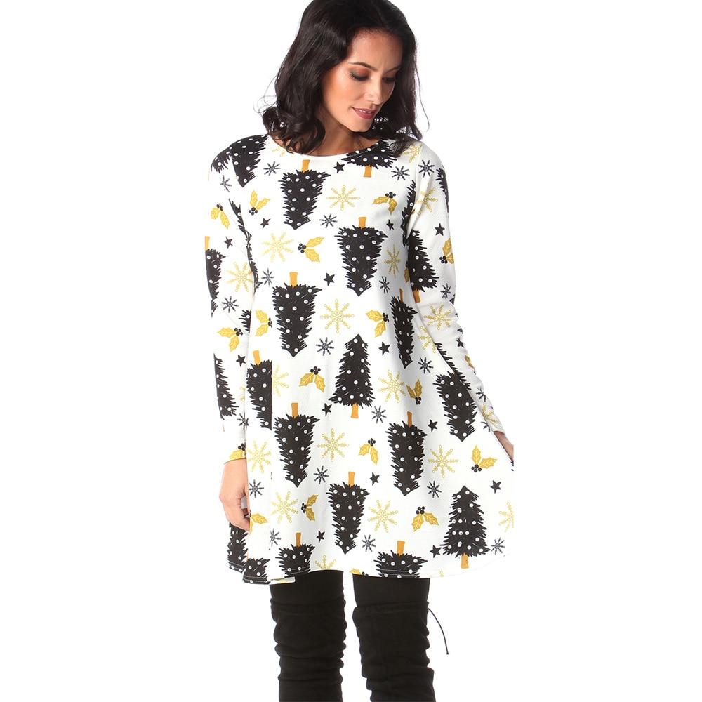 Print Long Sleeve Autumn Winter Christmas Dress Women 19 Casual Loose Short Party Dress Plus Size S-5XL Vestidos 34