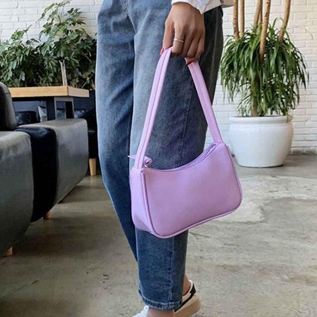 Handle Bag Women Retro Handbag PU Leather Shoulder Totes Underarm Vintage Top Handle Bag Female Small Subaxillary Bags Clutch 4