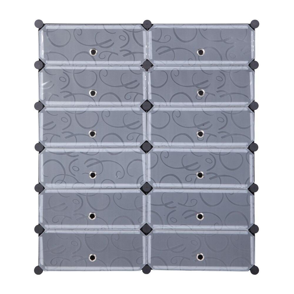 12 Grids Transparent Drawer Shoes Rack Foldable Transparent Shoes Storage Box DIY Moisture Proof Shoes Organizer Case