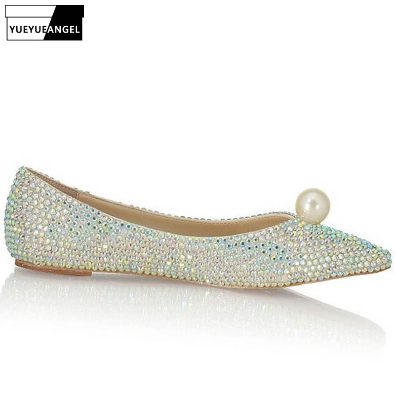 Fashion Women Shallow Slip On Loafers Bride Glitter Sequins Pearl Pointed Toe Wedding Dress Shoes Bridesmaid Ladies Flats Shoes