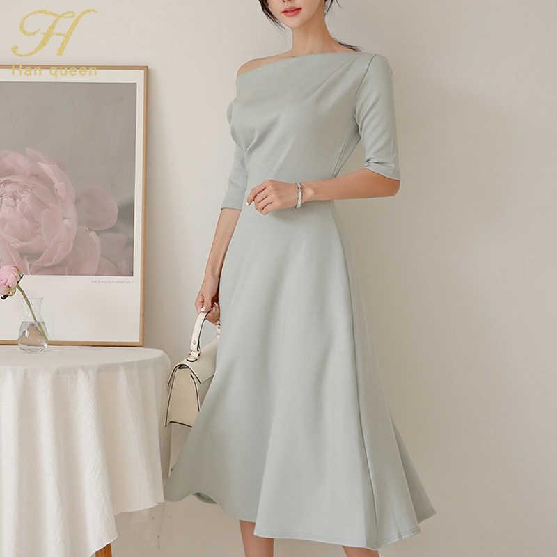 H Han Queen femmes hiver fond a-ligne robe 2019 nouvelle couleur unie mi-mollet Swing robes Sexy Slash cou demi manches robes