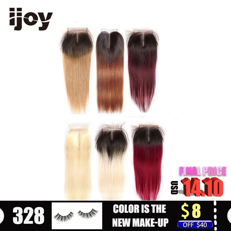 Human Hair With 4x4 Lace Closure Ombre #613/27/30/99J/Burgundy 8
