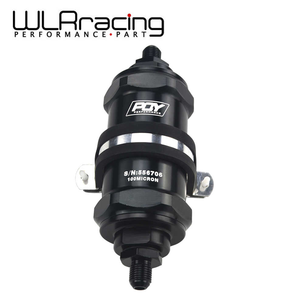WLR RACING-PQY ZWART AN6/AN8/AN10 Inline Brandstof Filter E85 Ethanol Met 100 Micron rvs element en PQY sticker