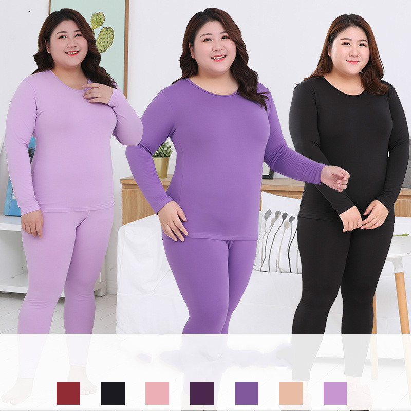 Plus Size Women's Close-fitting Thermal Underwear Milk Silk Long Sleeves 6XL Warm Long Johns 2019 New Winter Underwear Set
