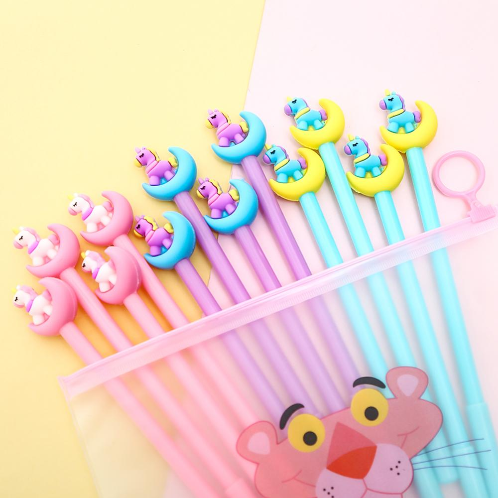 12Pcs/Pack Cartoon Kawai Unicorn Animal Gel Pens Creative Cute Stationery Funny Novelty Wedding Gift Pencil Case Bag Stationary