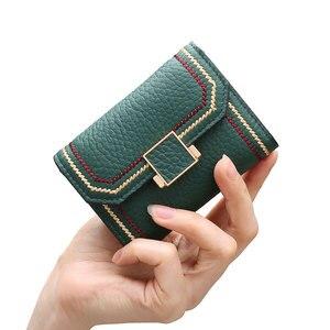Porte Monnaie Porte Carte Femme, кошелек для карт, Женский держатель для кредитных карт, натуральная кожа, пряжка, визитница, модный зеленый