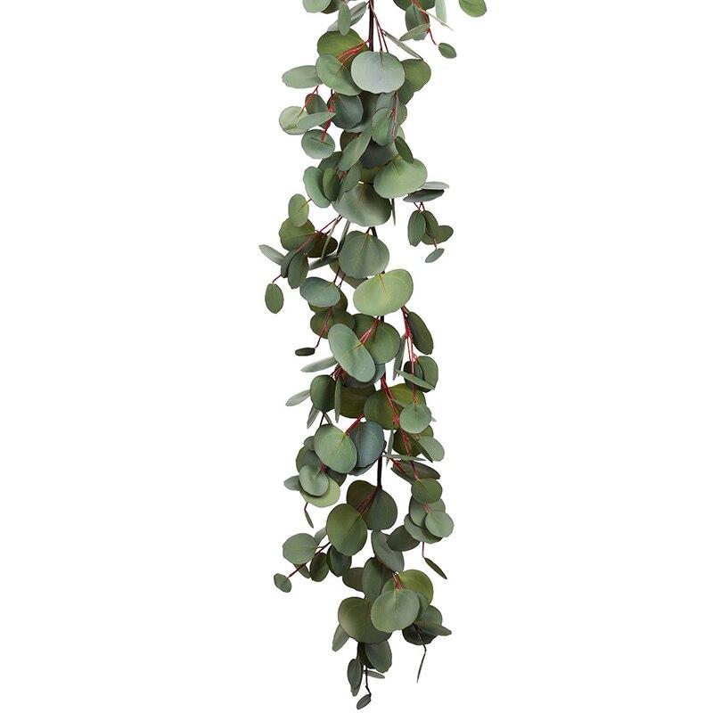 Ev ve Bahçe'ten Yapay Bitkiler'de 1.6M okaliptüs çelenk  yapay sarmaşıklar sahte okaliptüs yaprakları masa Garland yapay okaliptüs Garland yeşillik düğün Ba title=
