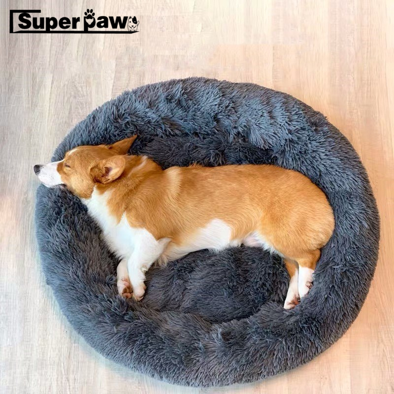 Super Soft Pet Dog Bed Comfortable Donut Cuddler Round House Dogs Kennel Washable Cat Cushion Bed Winter Warm Sofa Corgi FPB01 image