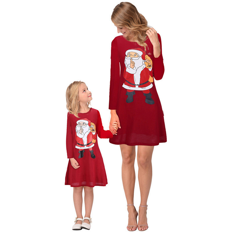 Mommy-and-me-family-matching-mother-daughter-dresses-clothes-Christmas-mom-dress-kids-child-outfits-mum