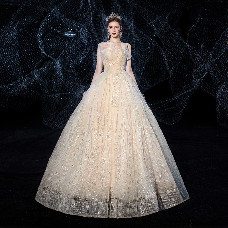 Mrs Win Wedding Dress New Luxury Champagne Strapless Ball Gown Princess Classic Sequins Wedding Dress Custom Size For Bride