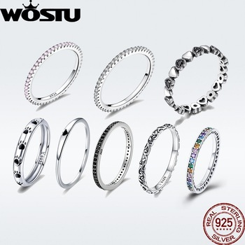 WOSTU Genuine 100% 925 Sterling Silver Simple Geometric Round Single Stackable Finger Rings For Women Christmas GIFT BKR066 1